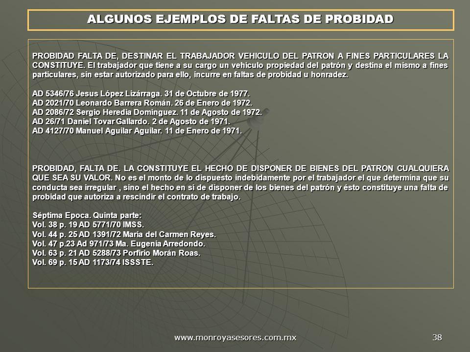 ALGUNOS EJEMPLOS DE FALTAS DE PROBIDAD