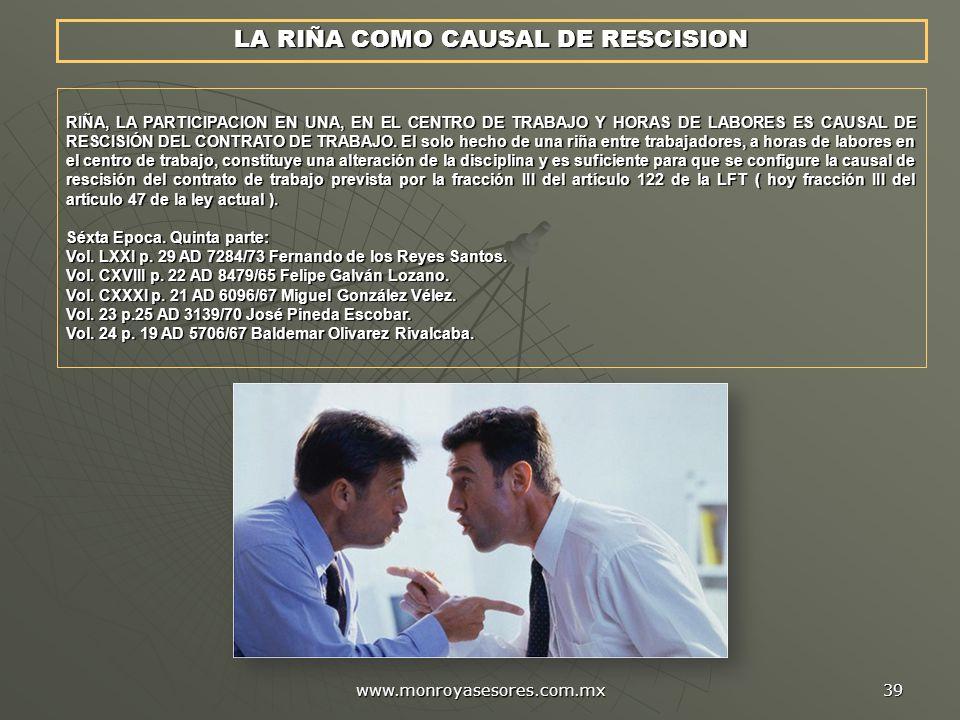 LA RIÑA COMO CAUSAL DE RESCISION