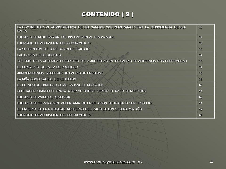 CONTENIDO ( 2 ) www.monroyasesores.com.mx