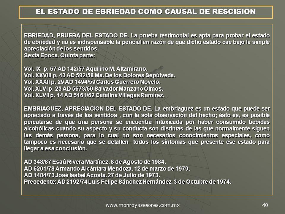 EL ESTADO DE EBRIEDAD COMO CAUSAL DE RESCISION