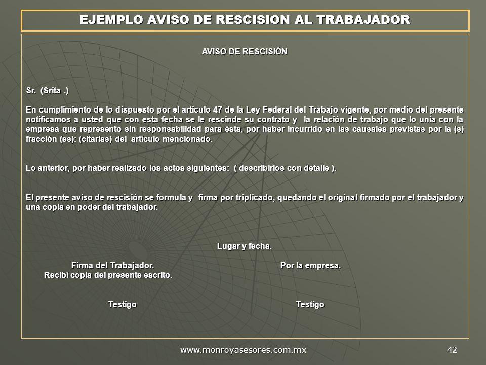 EJEMPLO AVISO DE RESCISION AL TRABAJADOR