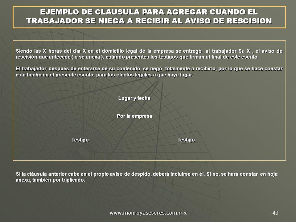 EJEMPLO DE CLAUSULA PARA AGREGAR CUANDO EL TRABAJADOR SE NIEGA A RECIBIR AL AVISO DE RESCISION