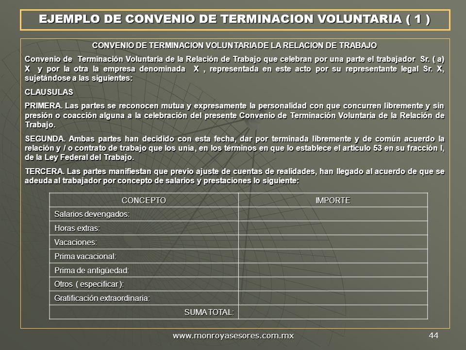 CONVENIO DE TERMINACION VOLUNTARIA DE LA RELACION DE TRABAJO