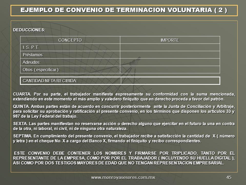 EJEMPLO DE CONVENIO DE TERMINACION VOLUNTARIA ( 2 )