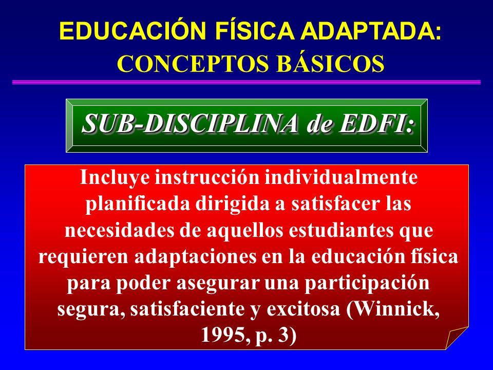 EDUCACIÓN FÍSICA ADAPTADA: CONCEPTOS BÁSICOS SUB-DISCIPLINA de EDFI:
