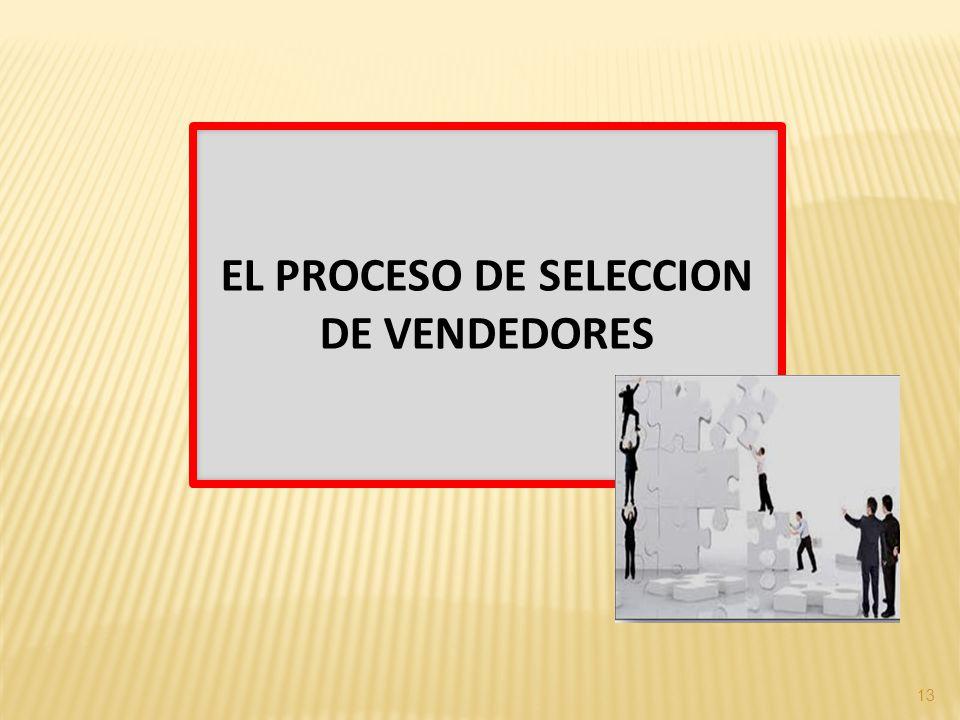 EL PROCESO DE SELECCION DE VENDEDORES