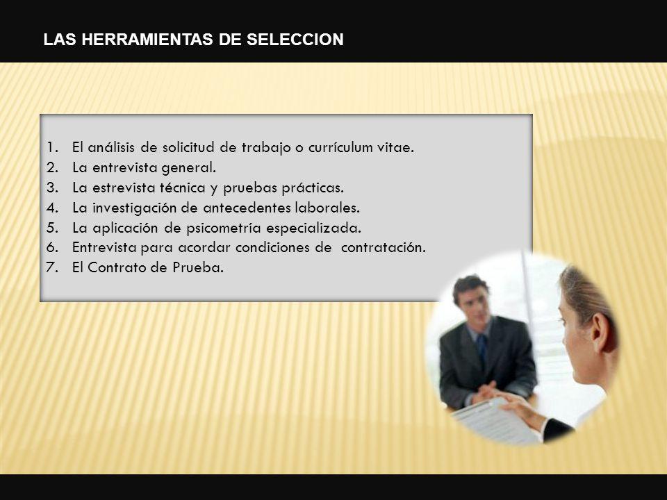 LAS HERRAMIENTAS DE SELECCION