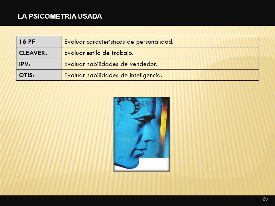LA PSICOMETRIA USADA 16 PF. Evaluar características de personalidad. CLEAVER: Evaluar estilo de trabajo.