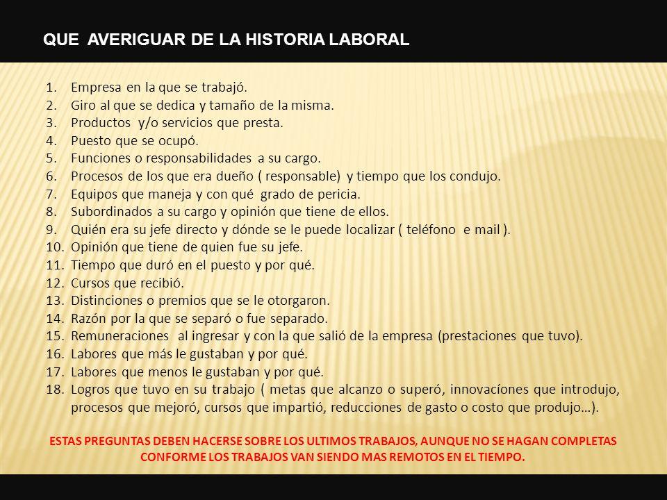 QUE AVERIGUAR DE LA HISTORIA LABORAL