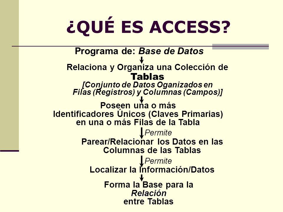 ¿QUÉ ES ACCESS Programa de: Base de Datos Tablas