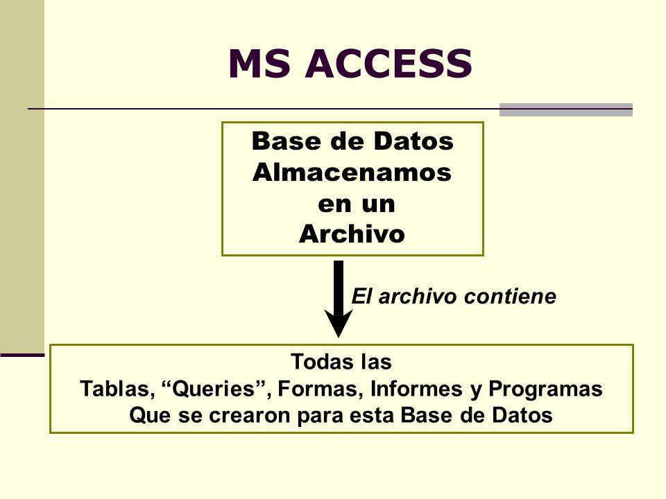 MS ACCESS Base de Datos Almacenamos en un Archivo El archivo contiene