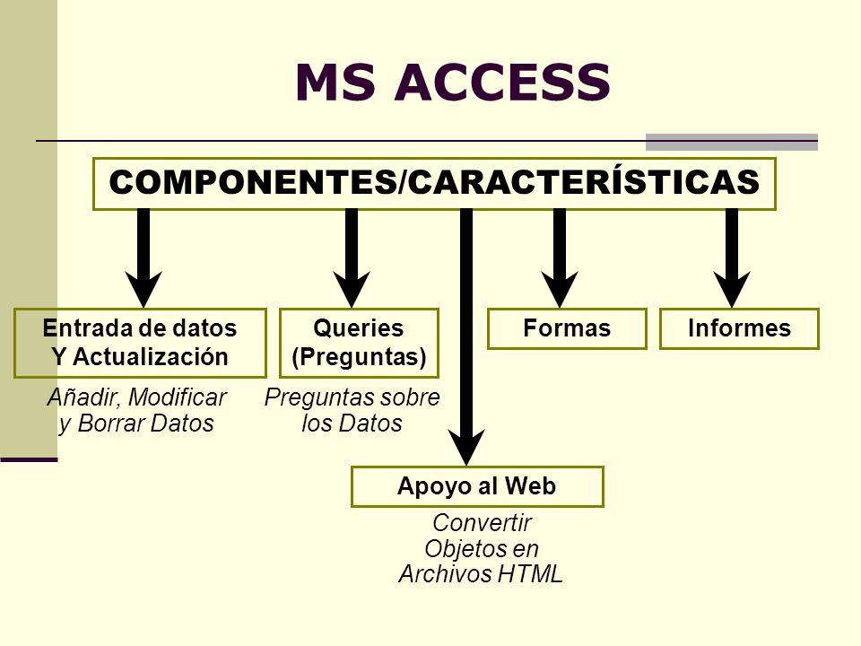 MS ACCESS COMPONENTES/CARACTERÍSTICAS Entrada de datos Y Actualización