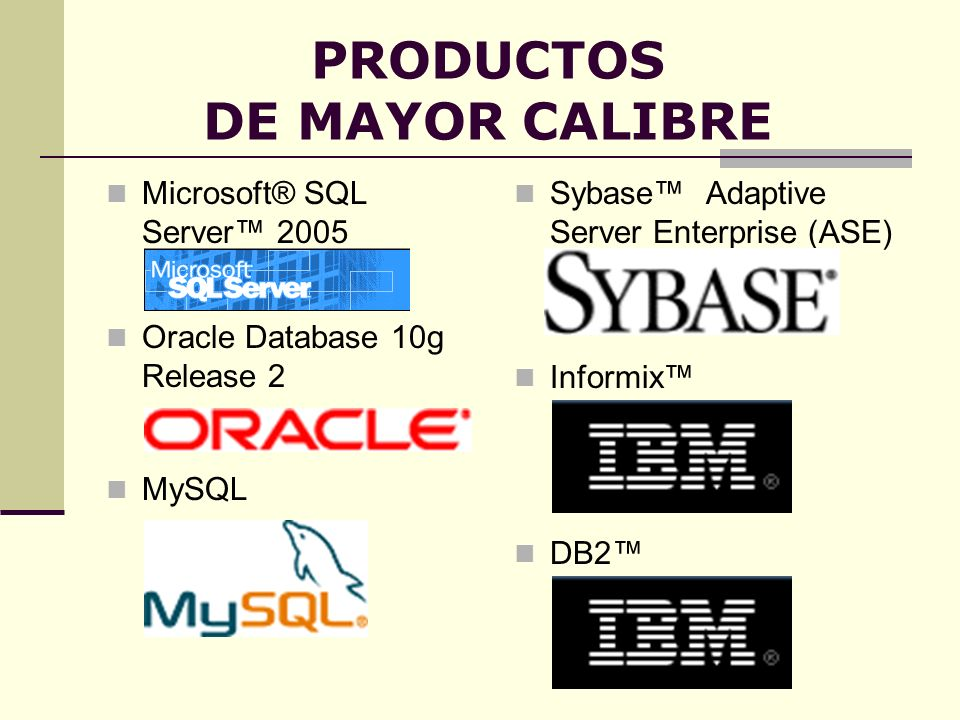 PRODUCTOS DE MAYOR CALIBRE
