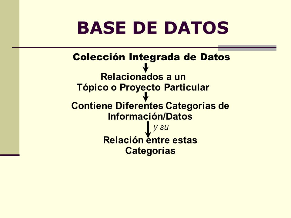 BASE DE DATOS Colección Integrada de Datos Relacionados a un