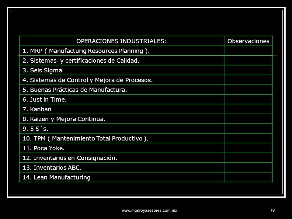OPERACIONES INDUSTRIALES: