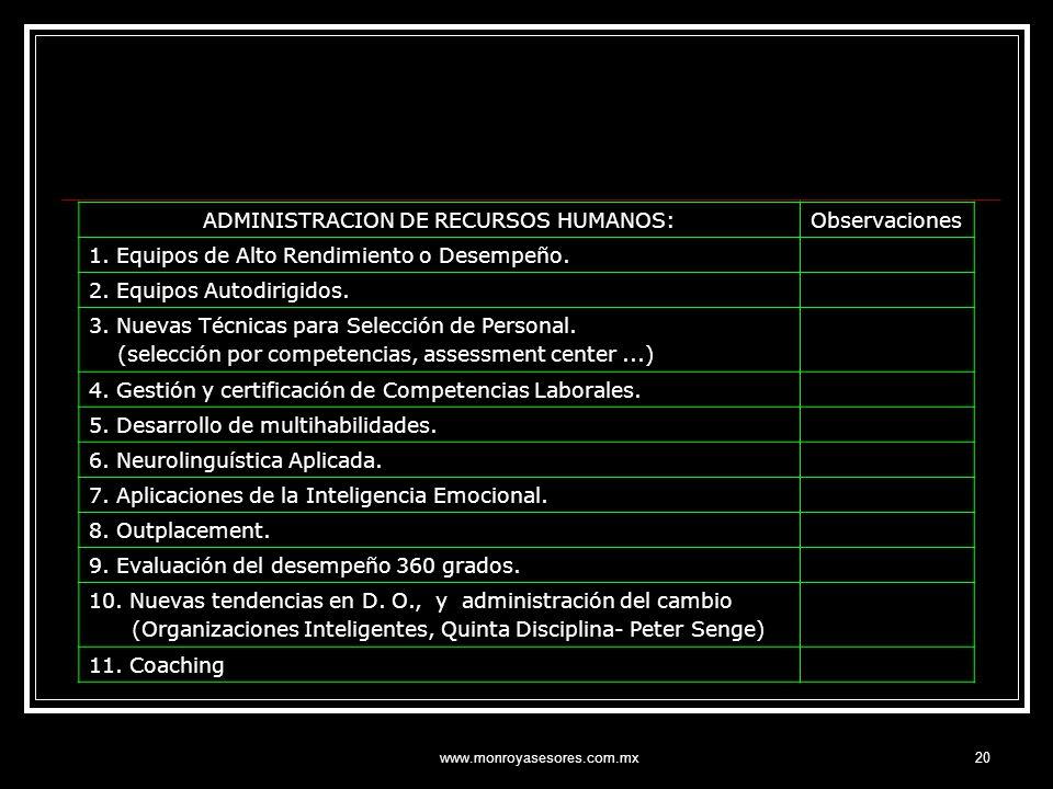ADMINISTRACION DE RECURSOS HUMANOS: