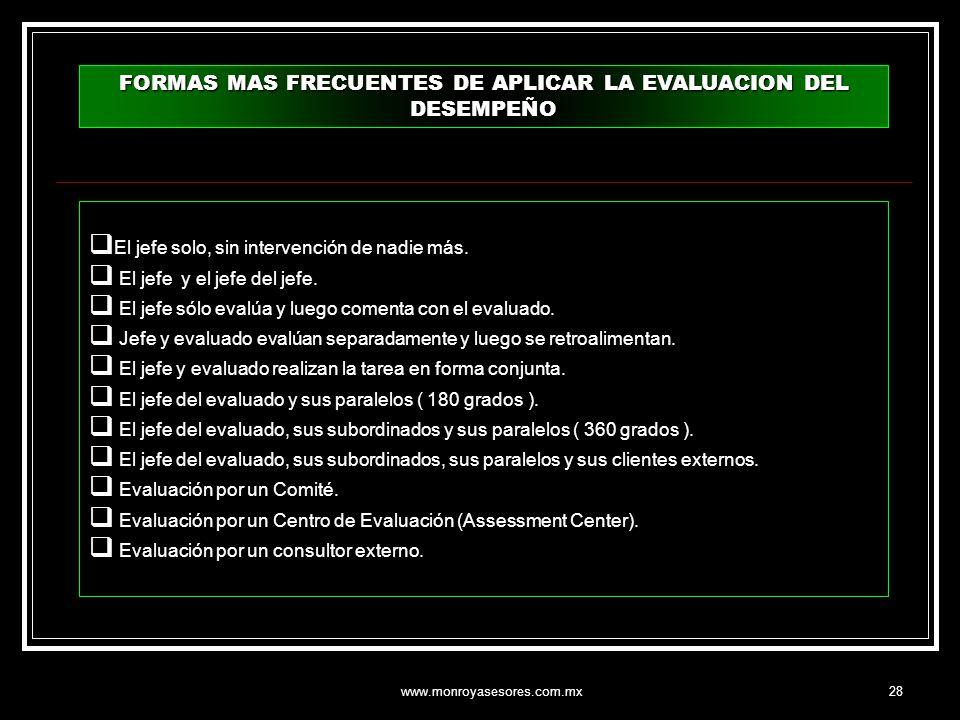 FORMAS MAS FRECUENTES DE APLICAR LA EVALUACION DEL DESEMPEÑO
