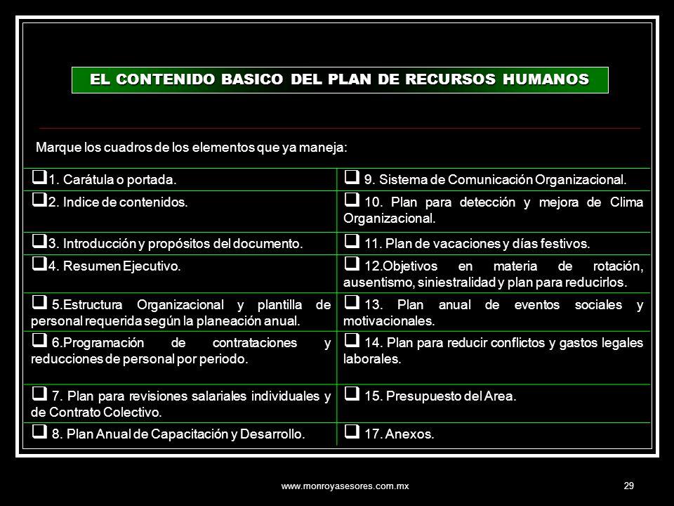 EL CONTENIDO BASICO DEL PLAN DE RECURSOS HUMANOS