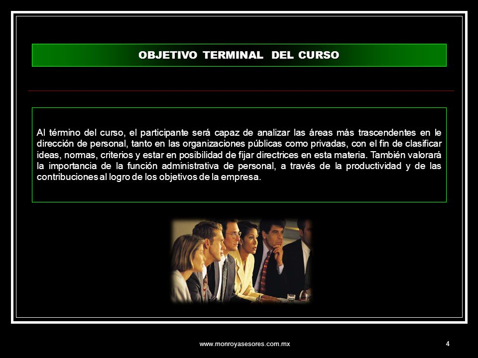 OBJETIVO TERMINAL DEL CURSO