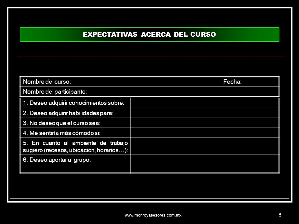 EXPECTATIVAS ACERCA DEL CURSO