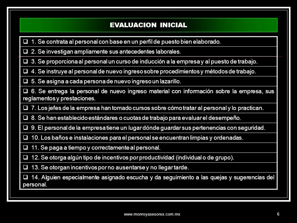 EVALUACION INICIAL 1. Se contrata al personal con base en un perfil de puesto bien elaborado.