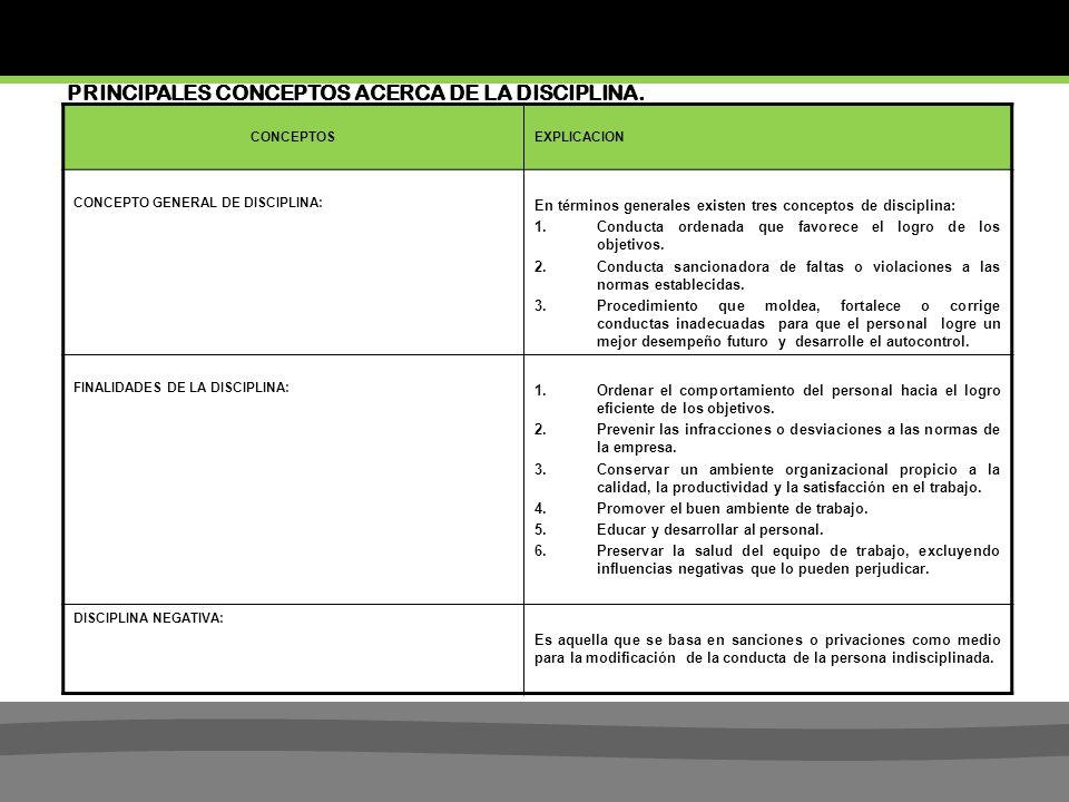 PRINCIPALES CONCEPTOS ACERCA DE LA DISCIPLINA.