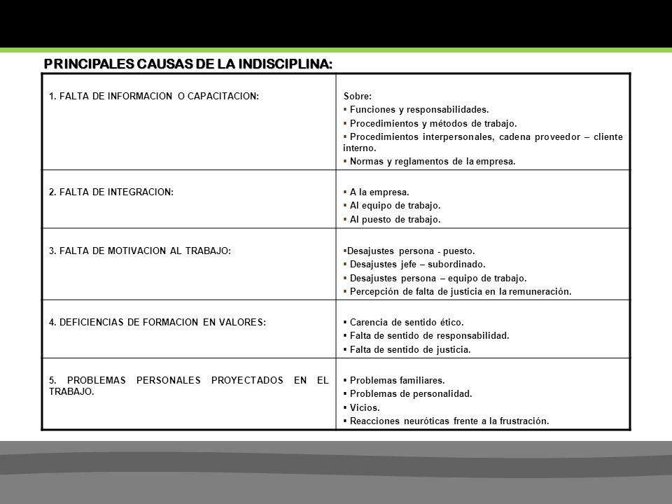PRINCIPALES CAUSAS DE LA INDISCIPLINA: