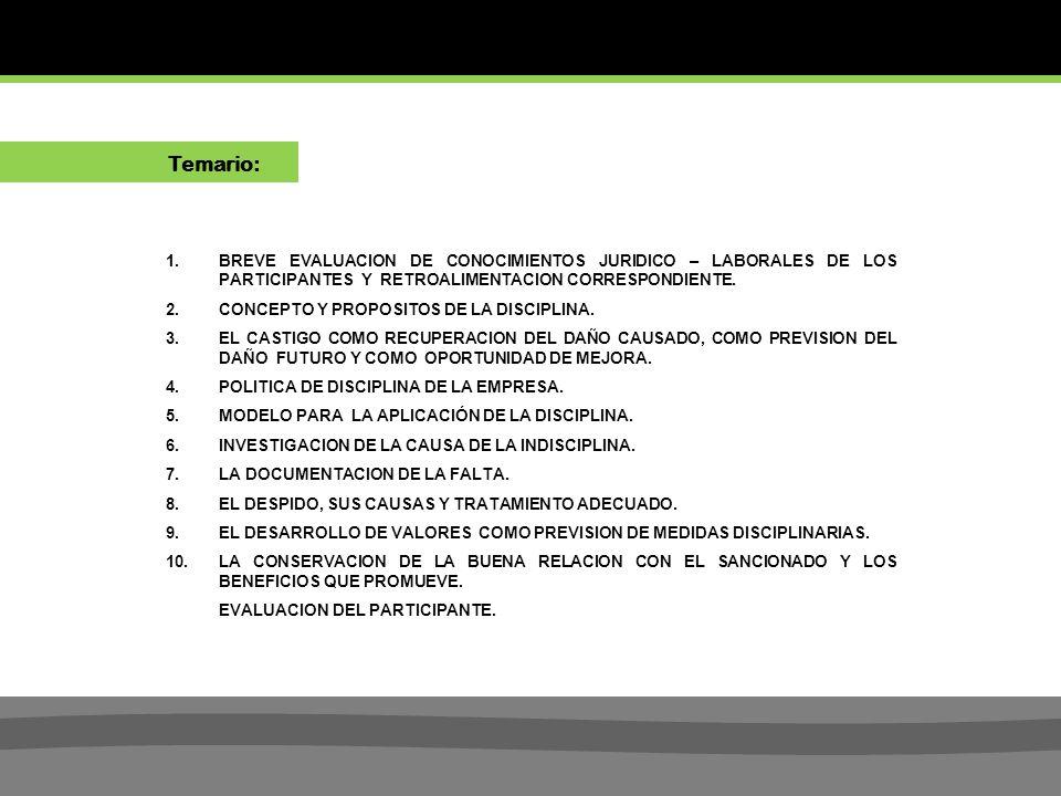 Temario: BREVE EVALUACION DE CONOCIMIENTOS JURIDICO – LABORALES DE LOS PARTICIPANTES Y RETROALIMENTACION CORRESPONDIENTE.