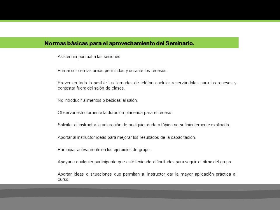 Normas básicas para el aprovechamiento del Seminario.