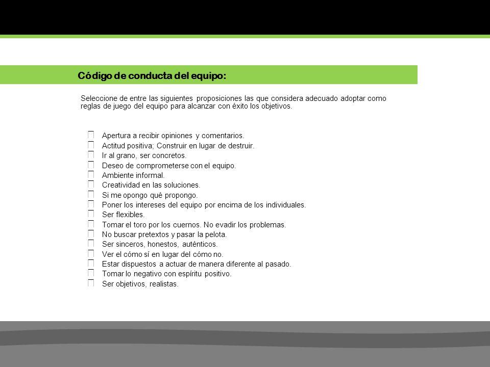 Código de conducta del equipo: