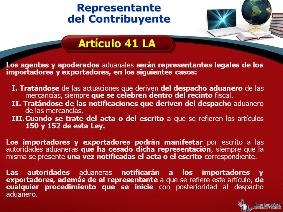 Artículo 41 LA Representante del Contribuyente