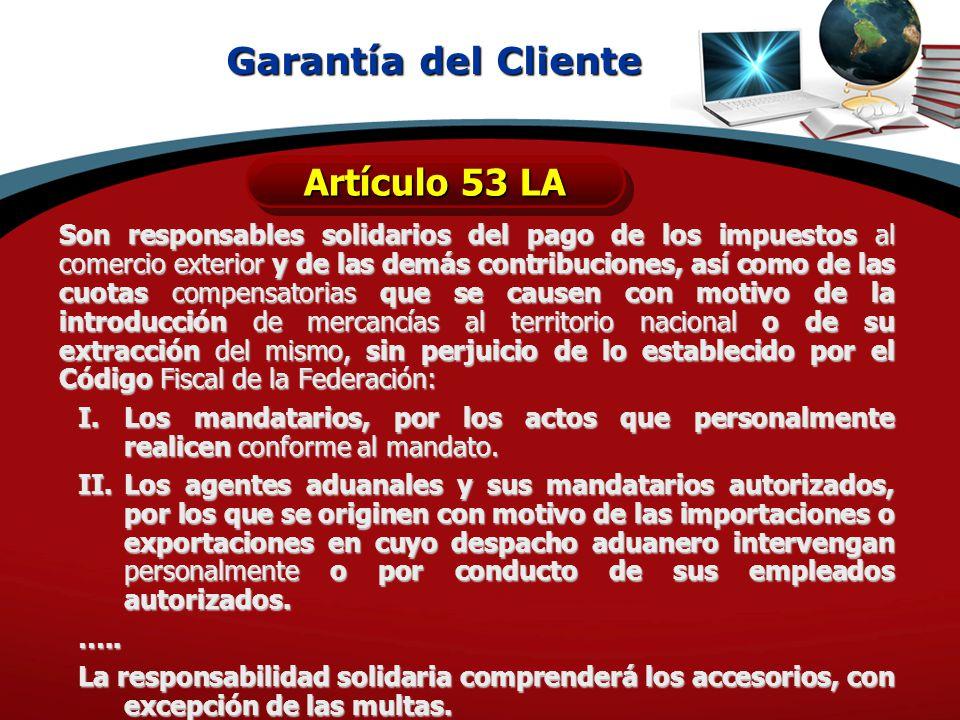 Garantía del Cliente Artículo 53 LA