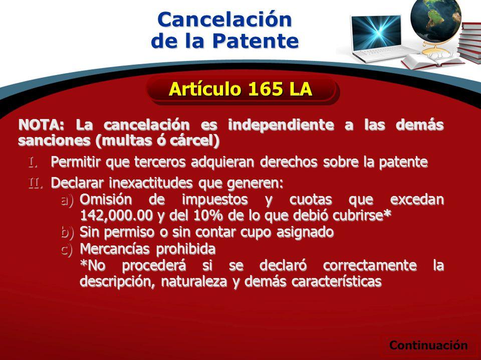 Cancelación de la Patente