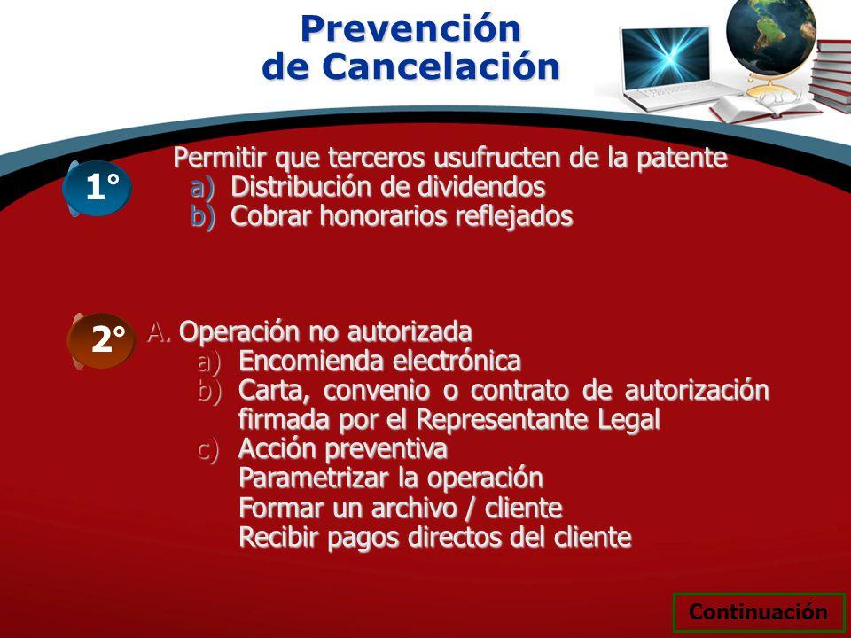 Prevención de Cancelación 1° 2°