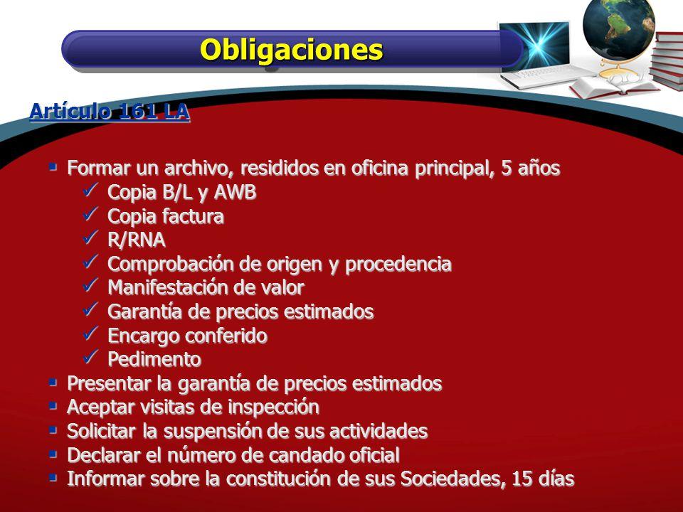 Obligaciones Artículo 161 LA