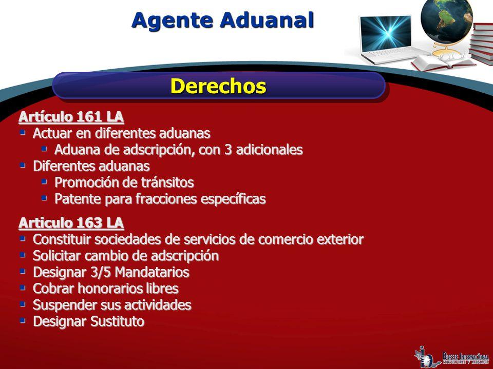 Agente Aduanal Derechos Artículo 161 LA Actuar en diferentes aduanas