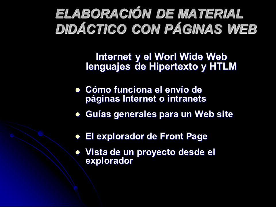 ELABORACIÓN DE MATERIAL DIDÁCTICO CON PÁGINAS WEB