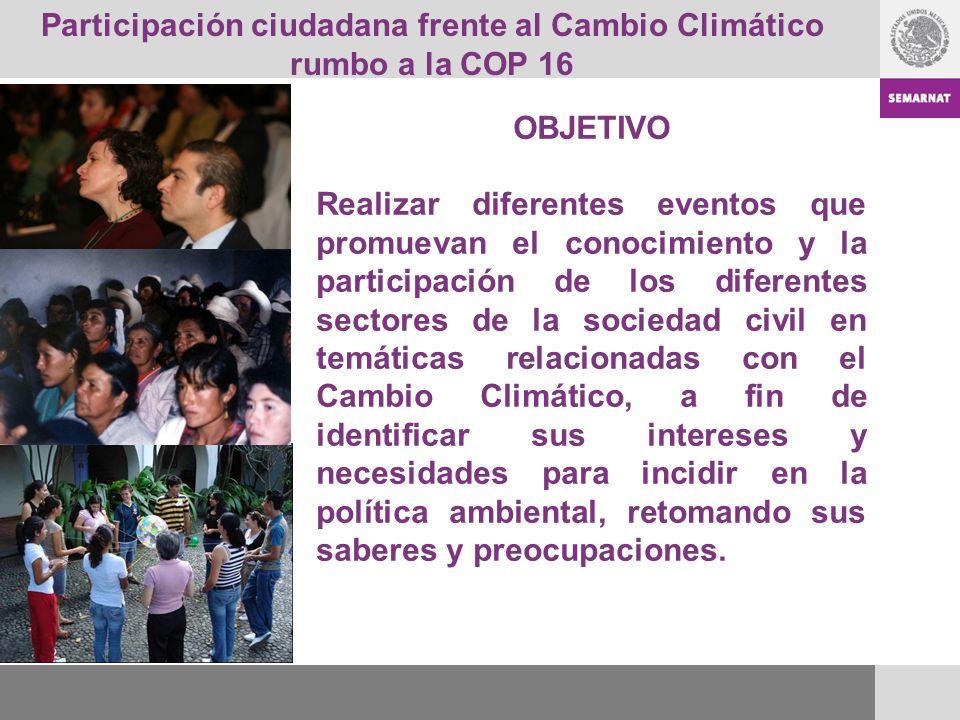 Participación ciudadana frente al Cambio Climático rumbo a la COP 16