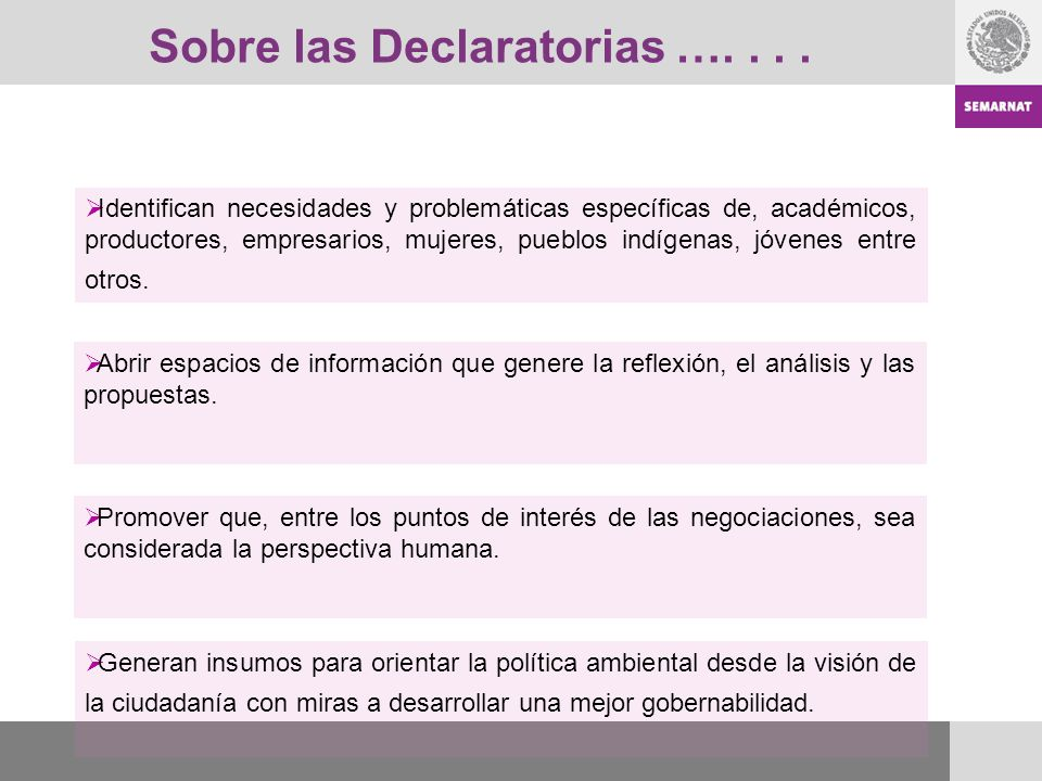 Sobre las Declaratorias …. . . .