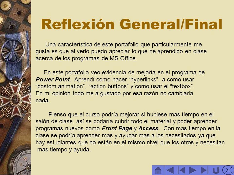 Reflexión General/Final