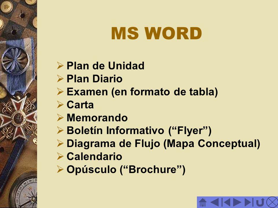 MS WORD Plan de Unidad Plan Diario Examen (en formato de tabla) Carta
