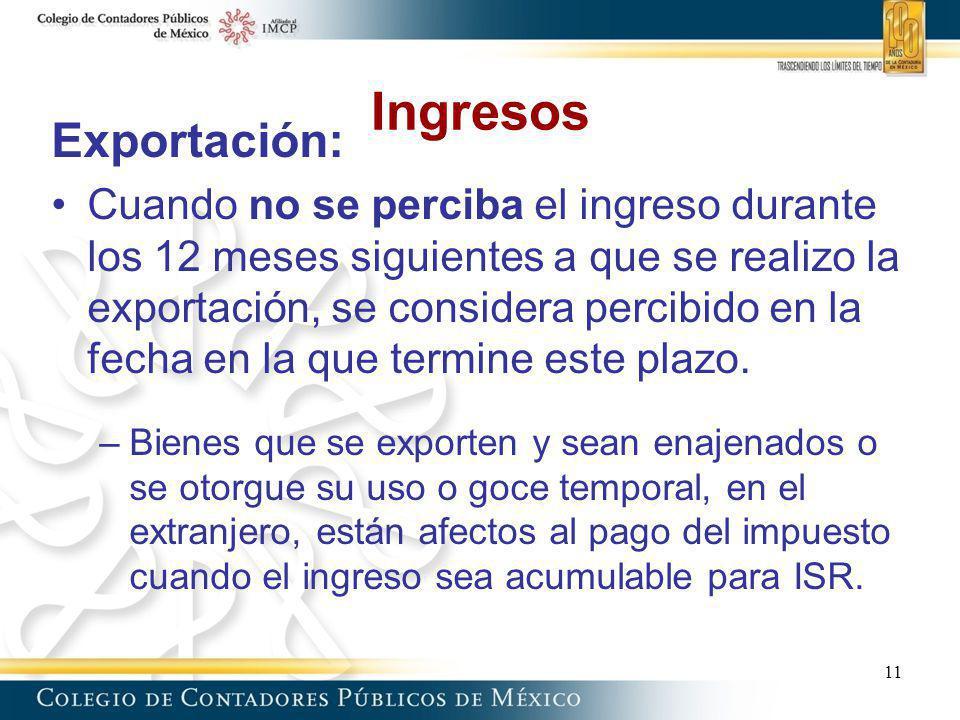 Ingresos Exportación:
