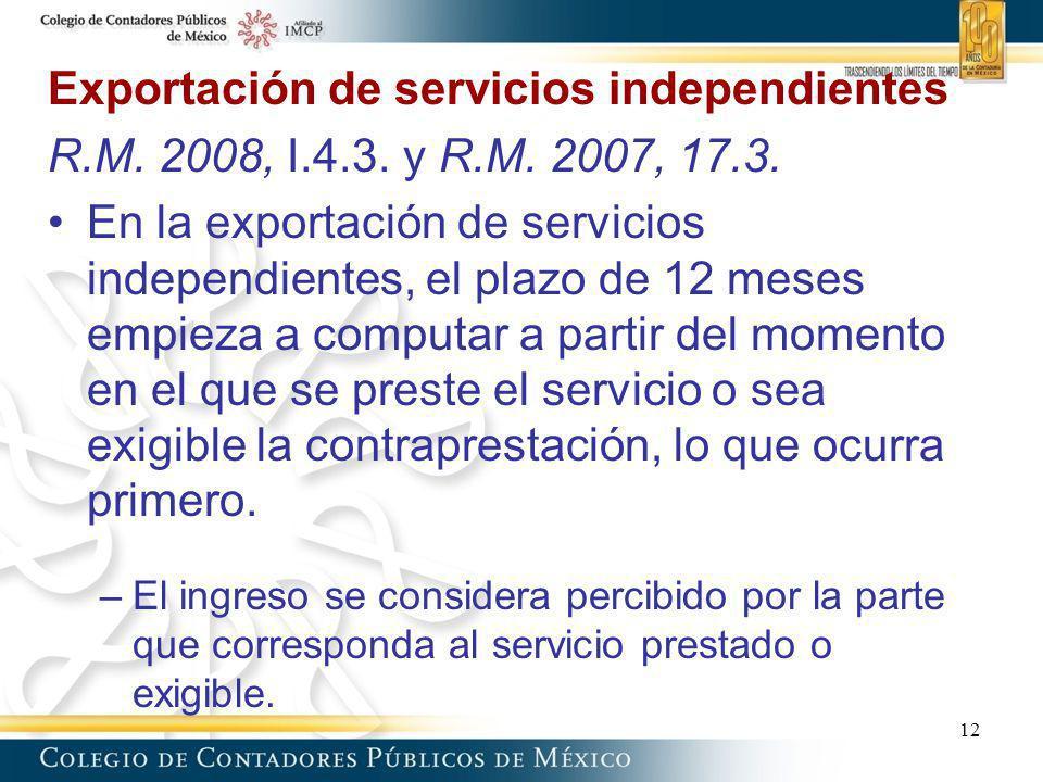 Exportación de servicios independientes