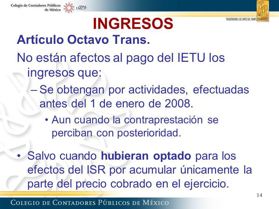 INGRESOS Artículo Octavo Trans.