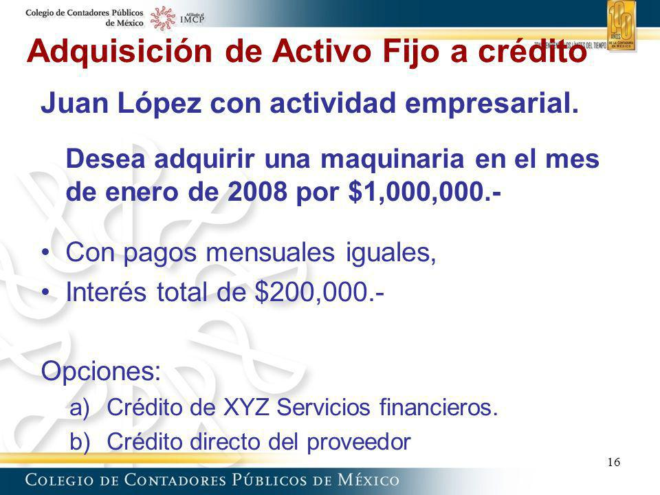 Adquisición de Activo Fijo a crédito