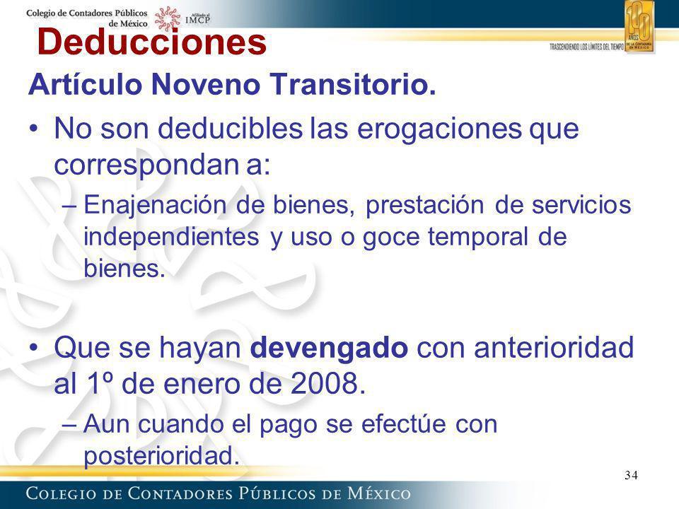 Deducciones Artículo Noveno Transitorio.