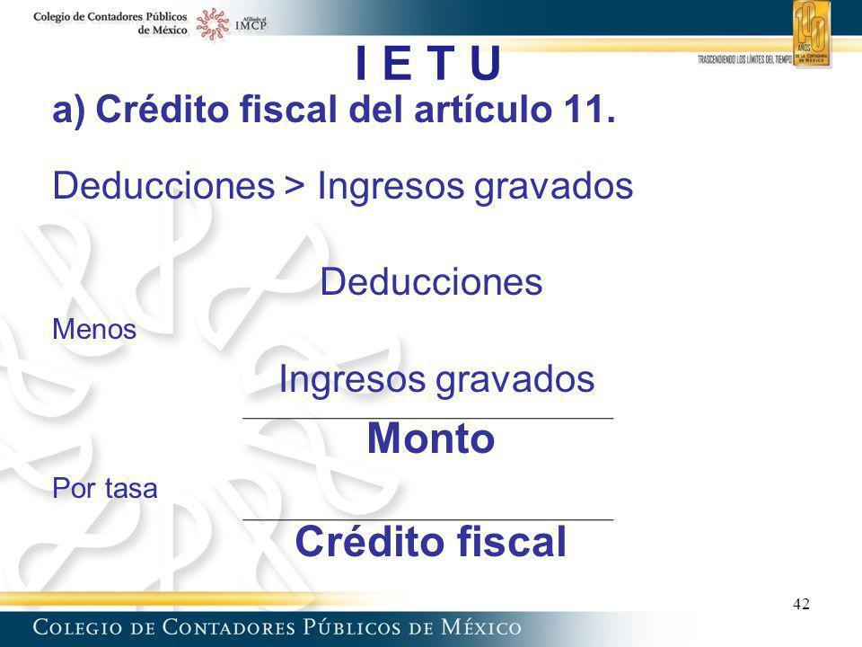 I E T U Monto Crédito fiscal Crédito fiscal del artículo 11.