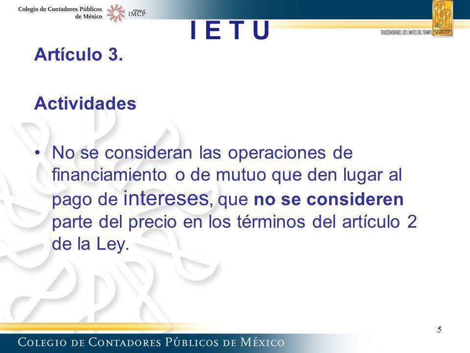 I E T U Artículo 3. Actividades