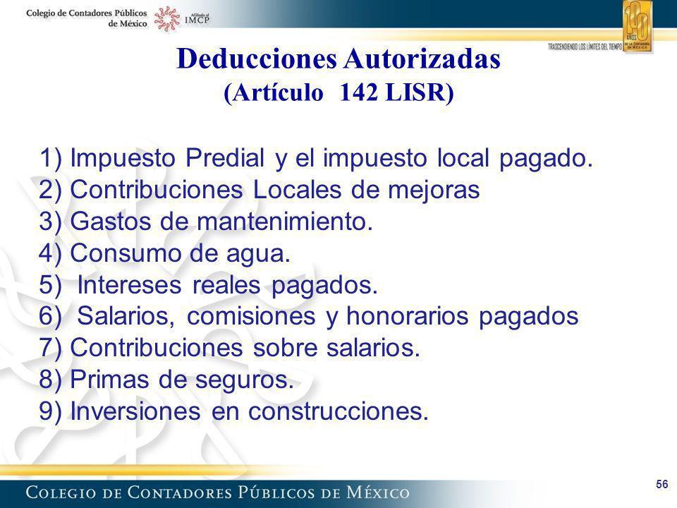 Deducciones Autorizadas (Artículo 142 LISR)