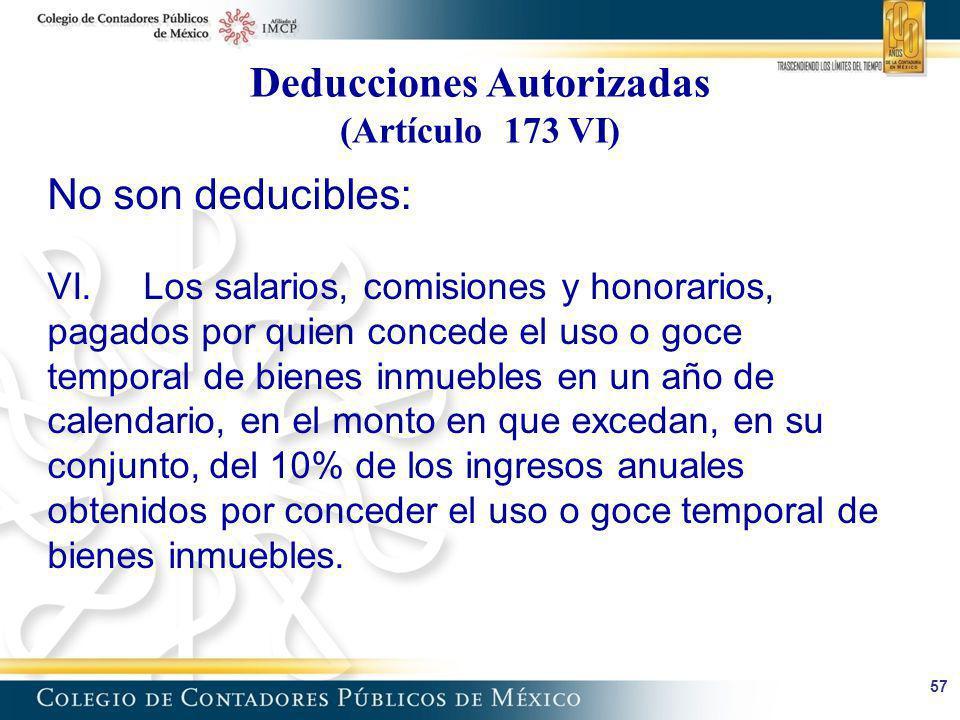 Deducciones Autorizadas (Artículo 173 VI)